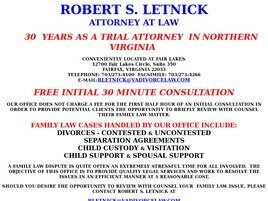 Robert S. Letnick, Esquire Letnick Law Firm, PLC (Fairfax Co., Virginia)
